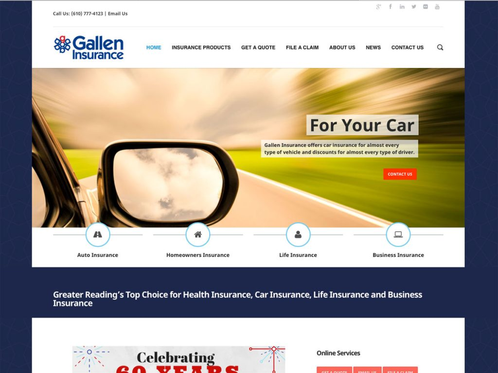 Gallen Insurance website screenshot, February 2018