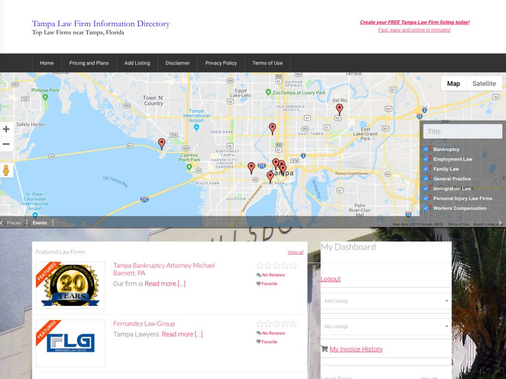 Tampa Law Firm Directory website screenshot