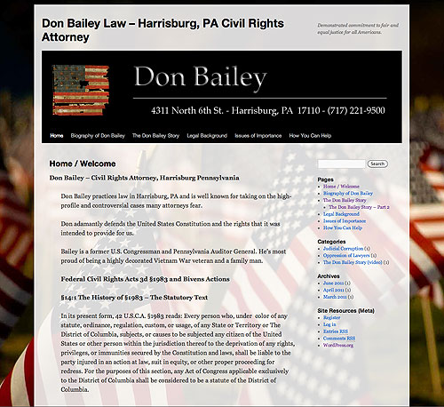 Don Bailey Law website screenshot, April 2006