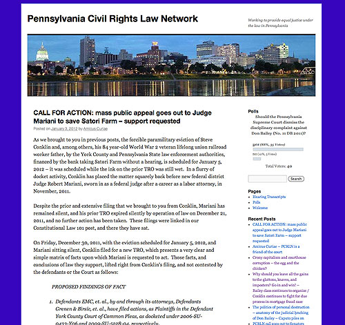 Pennsylvania Civil Rights Law Network website screenshot, August 2011