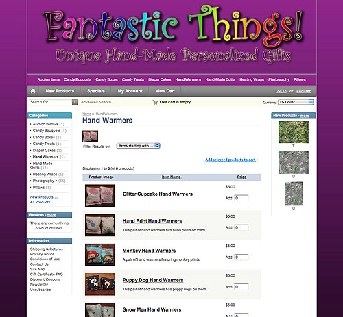 Fantastic Things website screenshot, October 2011