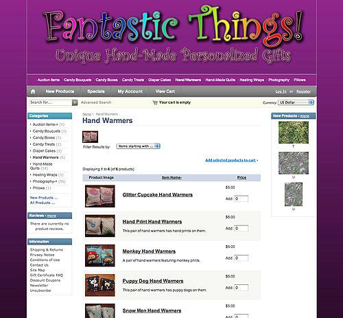Fantastic Things website screenshot, October 2011