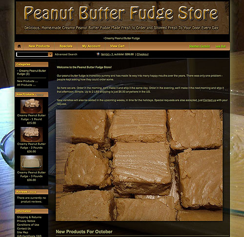 Peanut Butter Fudge Store website screenshot, October 2012