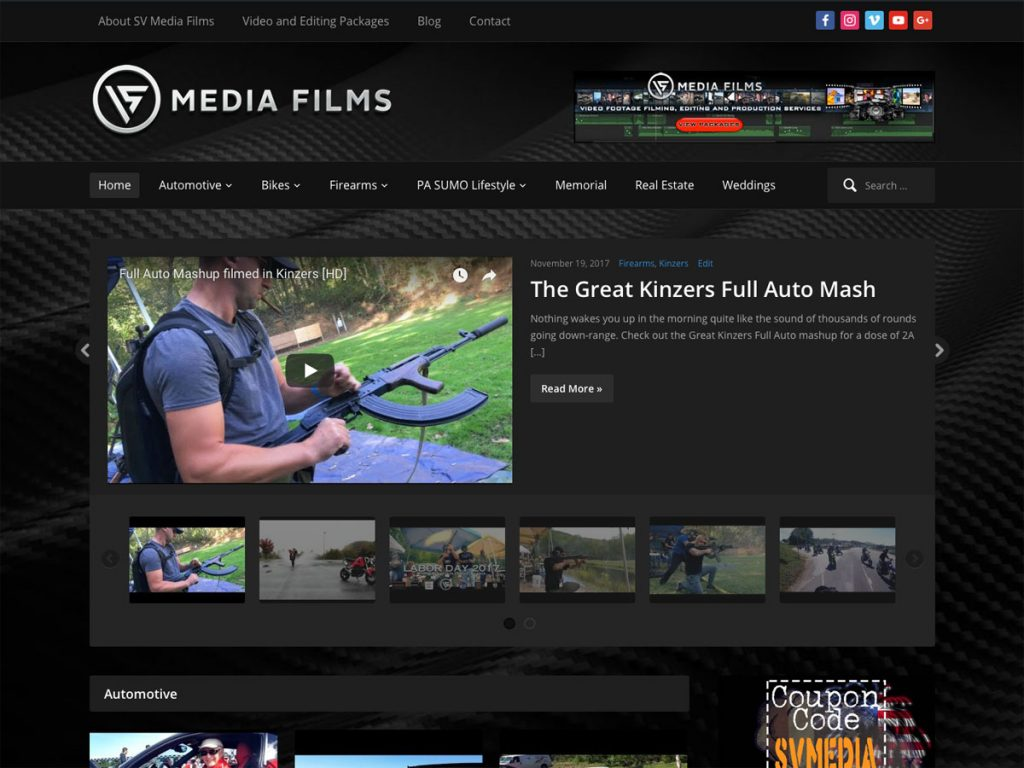 SV Media Films website screenshot, September 2017