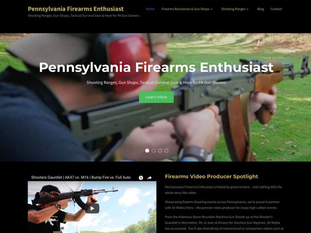 Pennsylvania Firearms Enthusiast website screenshot, November 2017