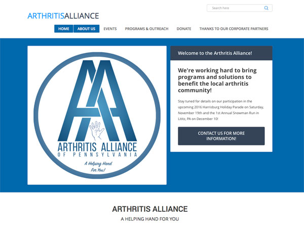 Arthritis Alliance website screenshot, October 2016