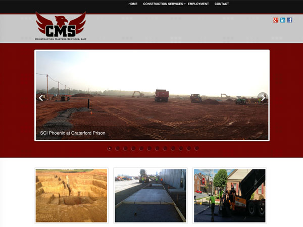 Construction Masters Services website screenshot, January 2014