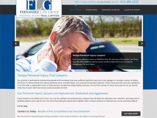 Fernandez Vinas Law website screenshot, January 2015