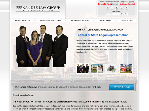 Foreclosure Defense Attorney website screenshot, August 2012