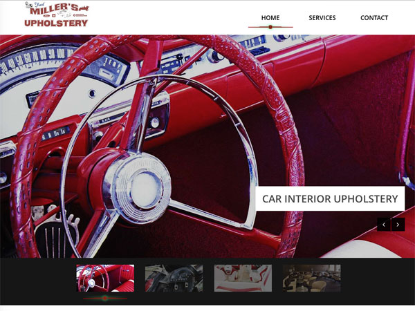 Miller's Upholstery website screenshot, February 2016