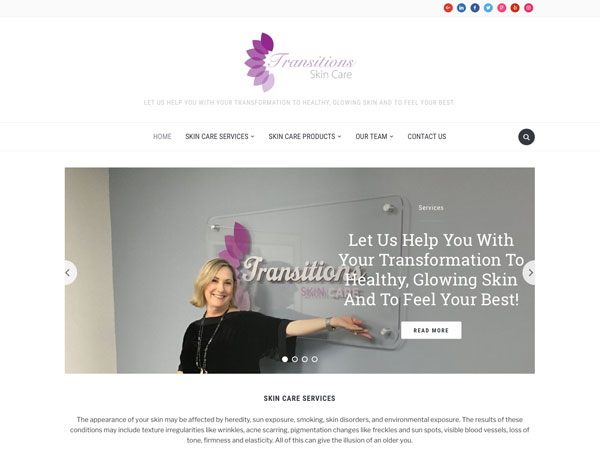 Transitions Skin Care website screenshot, January 2018