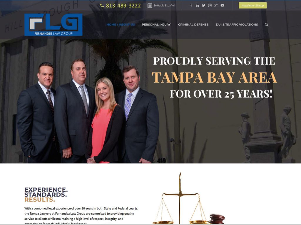 Fernandez Law Group website screenshot, June 2018