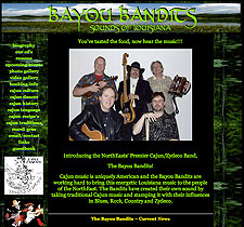 The Bayou Bandits website screenshot, August 2007