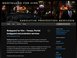 Bodyguard for Hire website screenshot, September 2012