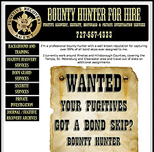 Bounty Hunter For Hire website screenshot, April 2008