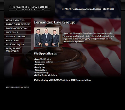 Fernandez Law Group website screenshot, December 2011