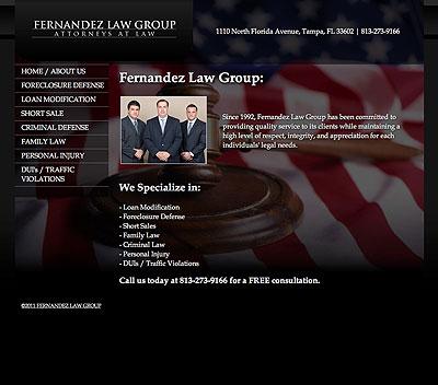 Fernandez Law Group website screenshot, December 2011