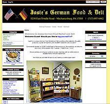 Josie's German Cakes and Market website screenshot, August 2007