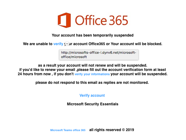 Fake Office 365 Account Suspension Warning